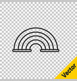 black line rainbow icon isolated on transparent vector image vector image