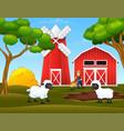 cartoon happy farmer and sheep in farm vector image vector image