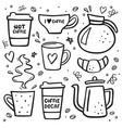 coffee doodle big set coffee to go coffee pots vector image