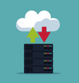 color background of server box with cloud storage vector image vector image