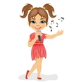 Cute little girl with microphone sings song vector image vector image