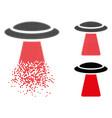 decomposed pixelated halftone ufo ray icon vector image