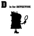 Detective cartoon with silhouette vector image vector image