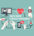 digital healthcare technology flat poster vector image vector image