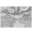 doodle surreal landscape - coloring page for vector image vector image