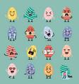 easter egg character emoji set vector image vector image