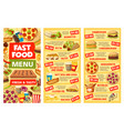 fastfood menu banners takeaway food and prices vector image vector image