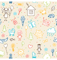Hand drawn children drawings seamless pattern vector image vector image