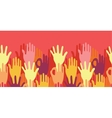 Hands in the crowd horizontal seamless pattern vector image vector image