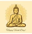 happy vesak day holiday buddha in meditation vector image