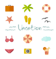 Icons vacation in a flat minimalist style vector image vector image