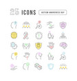 line icons autism awareness day vector image vector image