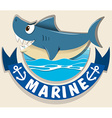 Marine logo with shark vector image