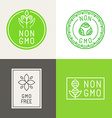 Non gmo natural ingridients labels and emblems vector image