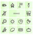 orange icons vector image vector image