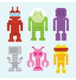 Pixel art robots isolated set vector image vector image