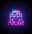 police neon sign police logo neon vector image vector image