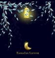 ramadan kareem with moon and lantern background vector image