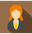 Red girl with hairstyle icon flat style vector image vector image