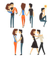 romantic dinner dating couples set lovers walking vector image vector image