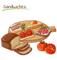 sandwiches and bread vector image
