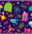 seamless color children pattern with cute monsters vector image vector image