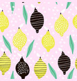 seamless pattern with creative modern lemons hand vector image vector image