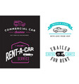 set four car rental or car service signs vector image