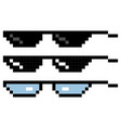 set glasses pixel in art style glasses pixel icon vector image