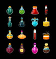 set isolated glass potions or magic bottles vector image