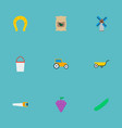 set of agriculture icons flat style symbols with vector image vector image