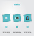 set of laptop icons flat style symbols with camera vector image vector image