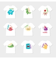 Set of nine t-shirts with cartoon cute monsters vector image vector image