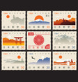 set old postage stamps with japanese landscapes vector image vector image