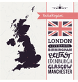 Set with map text flag plane UK vector image vector image