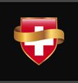 switzerland flag golden badge design vector image