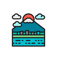 urban japanese landscape mount fuji flat color vector image