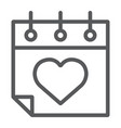 valentines day calendar line icon february vector image vector image