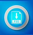 white psd file document icon download psd button vector image vector image