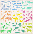 abstract watercolour animals vector image