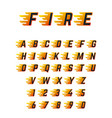 burning running letters with flame hot fire vector image