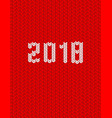 2018 new year knitted template red background vector image