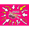arrows point to icon of sushi on pink bac vector image vector image
