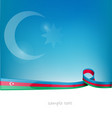 azerbaijan ribbon flag on blue sky background vector image