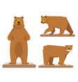 big brown forest bear set of three vector image vector image