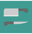 Big steel kitchen knife set Flat design style vector image
