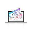 buying airplane tickets on laptop computer vector image vector image
