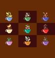 cups herbal tea set fruit and berry tea vector image