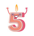 cute birthday candle number character five vector image vector image