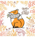 cute fox and bird in a frame autumn leaves